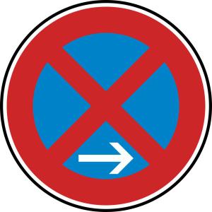 Verkehrszeichen 283-20 StVO, Absolutes Haltverbot Ende (Rechtsaufstellung) (Durchmesser/Folie/Form:  <b>420 mm</b> / RA1 / Flachform 2 mm (Art.Nr.: 283-20-111))