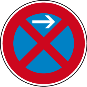 Verkehrszeichen 283-21 StVO, Absolutes Haltverbot Anfang (Linksaufstellung) (Durchmesser/Folie/Form:  <b>420mm</b>/RA1/Flachform 2mm (Art.Nr.: 283-21-111))