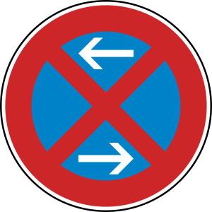 Verkehrszeichen 283-30 StVO, Absolutes Haltverbot Mitte (Rechtsaufstellung) (Durchmesser/Folie/Form:  <b>420 mm</b> / RA1 / Flachform 2 mm (Art.Nr.: 283-30-111))