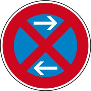 Verkehrszeichen 283-31 StVO, Absolutes Haltverbot Mitte (Linksaufstellung) (Durchmesser/Folie/Form:  <b>420mm</b>/RA1/Flachform 2mm (Art.Nr.: 283-31-111))