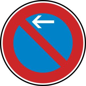 Verkehrszeichen 286-10 StVO, Eingeschränktes Haltverbot Anfang (Rechtsaufstellung) (Durchmesser/Folie/Form:  <b>420 mm</b> / RA1 / Flachform 2 mm (Art.Nr.: 286-10-111))