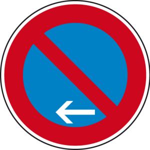 Verkehrszeichen 286-11 StVO, Eingeschränktes Haltverbot Ende (Linksaufstellung) (Durchmesser/Folie/Form:  <b>420mm</b>/RA1/Flachform 2mm (Art.Nr.: 286-11-111))