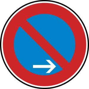 Verkehrszeichen 286-20 StVO, Eingeschränktes Haltverbot Ende (Rechtsaufstellung) (Durchmesser/Folie/Form:  <b>420 mm</b> / RA1 / Flachform 2 mm (Art.Nr.: 286-20-111))