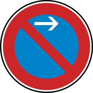 Verkehrszeichen 286-21 StVO, Eingeschränktes Haltverbot Anfang (Linksaufstellung) (Durchmesser/Folie/Form:  <b>420mm</b>/RA1/Flachform 2mm (Art.Nr.: 286-21-111))