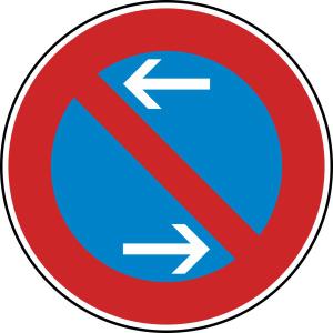 Verkehrszeichen 286-30 StVO, Eingeschränktes Haltverbot Mitte (Rechtsaufstellung) (Durchmesser/Folie/Form:  <b>420 mm</b> / RA1 / Flachform 2 mm (Art.Nr.: 286-30-111))