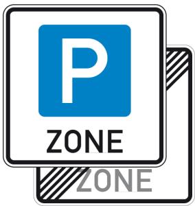 Verkehrszeichen 314.1-40 StVO, Parkraumbewirtschaftungszone doppelseitig (Maße/Folie/Form:  <b>600x600mm</b>/RA1/Flachform 2mm (Art.Nr.: 314.1-40-111))