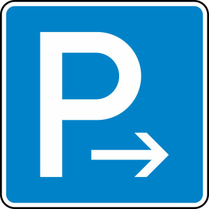 Verkehrszeichen 314-20 StVO, Parken Ende (Rechts-) oder Anfang (Linksaufstellung) (Maße/Folie/Form:  <b>420x420mm</b>/RA1/Flachform 2mm (Art.Nr.: 314-20-111))