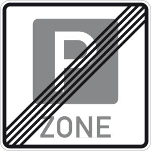 Verkehrszeichen 314.2 StVO, Ende einer Parkraumbewirtschaftungszone (Maße/Folie/Form:  <b>600x600mm</b>/RA1/Flachform 2mm (Art.Nr.: 314.2-111))