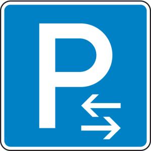 Verkehrszeichen 314-30 StVO, Parken Mitte (Rechts- oder Linksaufstellung) (Maße/Folie/Form:  <b>420x420mm</b>/RA1/Flachform 2mm (Art.Nr.: 314-30-111))