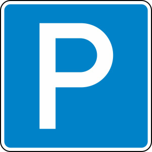 Verkehrszeichen 314 StVO, Parken (Maße/Folie/Form:  <b>420x420 mm</b> / RA1 / Flachform 2 mm (Art.Nr.: 314-111))