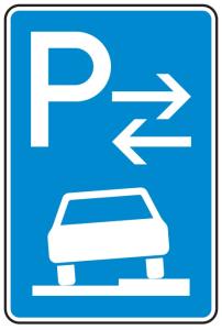 Verkehrszeichen 315-58 StVO, Parken auf Gehwegen halb in Fahrtr. rechts (Mitte) (Maße/Folie/Form:  <b>630x420mm</b>/RA1/Flachform 2mm (Art.Nr.: 315-58-111))