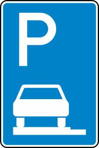Verkehrszeichen 315-60 StVO, Parken auf Gehwegen ganz in Fahrtr. links (Maße/Folie/Form:  <b>630x420mm</b>/RA1/Flachform 2mm (Art.Nr.: 315-60-111))