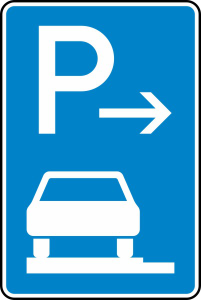 Verkehrszeichen 315-61 StVO, Parken auf Gehwegen ganz in Fahrtr. links (Anfang) (Maße/Folie/Form:  <b>630x420mm</b>/RA1/Flachform 2mm (Art.Nr.: 315-61-111))