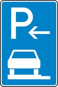 Verkehrszeichen 315-62 StVO, Parken auf Gehwegen ganz in Fahrtr. links (Ende) (Maße/Folie/Form:  <b>630x420mm</b>/RA1/Flachform 2mm (Art.Nr.: 315-62-111))