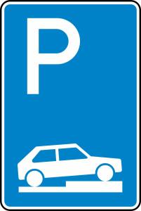 Verkehrszeichen 315-75 StVO, Parken auf Gehwegen halb quer zur Fahrtr. rechts (Maße/Folie/Form:  <b>630x420mm</b>/RA1/Flachform 2mm (Art.Nr.: 315-75-111))