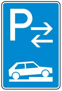 Verkehrszeichen 315-78 StVO, Parken auf Gehwegen halb quer zur Fahrtr. rechts (Mitte) (Maße/Folie/Form:  <b>630x420mm</b>/RA1/Flachform 2mm (Art.Nr.: 315-78-111))