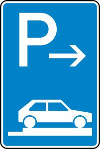 Verkehrszeichen 315-87 StVO, Parken auf Gehwegen ganz quer zur Fahrtr. rechts (Ende) (Maße/Folie/Form:  <b>630x420mm</b>/RA1/Flachform 2mm (Art.Nr.: 315-87-111))