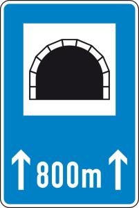 Verkehrszeichen 327-50 StVO, Tunnel mit Längenangabe in m (Maße/Folie/Form:  <b>900x600mm</b>/RA1/Flachform 2mm (Art.Nr.: 327-50-211))