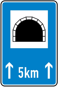 Verkehrszeichen 327-51 StVO, Tunnel mit Längenangabe in km (Maße/Folie/Form:  <b>900x600mm</b>/RA1/Flachform 2mm (Art.Nr.: 327-51-211))