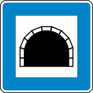 Verkehrszeichen 327 StVO, Tunnel (Maße/Folie/Form:  <b>600x600mm</b>/RA1/Flachform 2mm (Art.Nr.: 327-211))