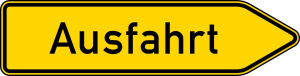 Verkehrszeichen 333.1 StVO, Ausfahrt von anderen Straßen außerhalb der Autobahn (Pfeilschild) (Folie/Form: RA1/Flachform 2mm (Art.Nr.: 333.1-111))