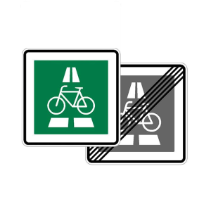Verkehrszeichen 350.1-40 StVO, Radschnellweg, doppelseitig (Maße/Folie/Form:  <b>600 x 600 mm</b> / RA1 / Flachform 2 mm (Art.Nr.: 350.1-40-211))