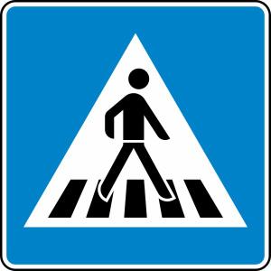 Verkehrszeichen 350-20 StVO, Fußgängerüberweg Aufstellung links (Folie/Form: RA1/Flachform 2mm (Art.Nr.: 350-20-211))