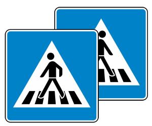 Verkehrszeichen 350-40 StVO, Fußgängerüberweg doppelseitig (Folie/Form: RA1/Flachform 2mm (Art.Nr.: 350-40-111))