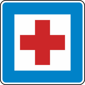 Verkehrszeichen 358 StVO, Erste Hilfe (Maße/Folie/Form:  <b>600x600mm</b>/RA1/Flachform 2mm (Art.Nr.: 358-111))