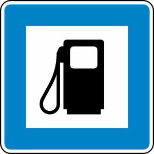 Verkehrszeichen 365-52 StVO, Tankstelle (Maße/Folie/Form:  <b>600x600mm</b>/RA1/Flachform 2mm (Art.Nr.: 365-52-111))