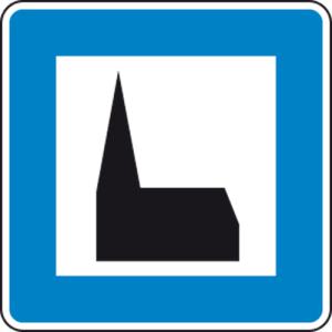 Verkehrszeichen 365-59 StVO, Autobahnkapelle (Maße/Folie/Form:  <b>600x600mm</b>/RA1/Flachform 2mm (Art.Nr.: 365-59-111))