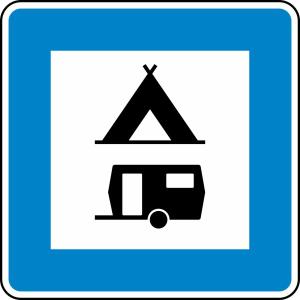 Verkehrszeichen 365-60 StVO, Zelt- und Wohnwagenplatz (Maße/Folie/Form:  <b>600x600mm</b>/RA1/Flachform 2mm (Art.Nr.: 365-60-111))