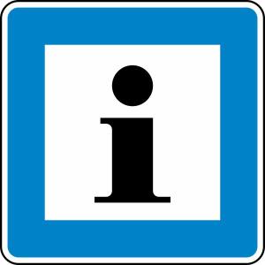 Verkehrszeichen 365-61 StVO, Informationsstelle (Maße/Folie/Form:  <b>600x600mm</b>/RA1/Flachform 2mm (Art.Nr.: 365-61-211))