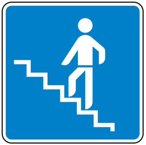 Verkehrszeichen 365-64 StVO, Fußgängerüberführung (Maße/Folie/Form:  <b>600x600mm</b>/RA1/Flachform 2mm (Art.Nr.: 365-64-211))