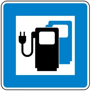 Verkehrszeichen 365-65 StVO, Ladestation für Elektrofahrzeuge (Maße/Folie/Form:  <b>600x600mm</b>/RA1/Flachform 2mm (Art.Nr.: 365-65-111))