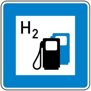 Verkehrszeichen 365-66 StVO, Wasserstofftankstelle (Maße/Folie/Form:  <b>600x600mm</b>/RA1/Flachform 2mm (Art.Nr.: 365-66-111))