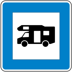 Verkehrszeichen 365-67 StVO, Wohnmobilplatz (Maße/Folie/Form:  <b>600x600mm</b>/RA1/Flachform 2mm (Art.Nr.: 365-67-111))