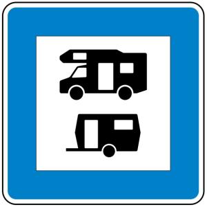 Verkehrszeichen 365-68 StVO, Wohnmobil- und Wohnwagenplatz (Maße/Folie/Form:  <b>600x600mm</b>/RA1/Flachform 2mm (Art.Nr.: 365-68-111))