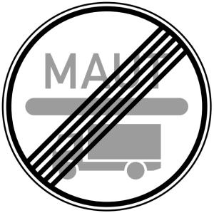 Verkehrszeichen 390.2 StVO, Ende der Mautpflicht nach dem Bundesfernstraßenmautgesetz (Durchmesser/Folie/Form: 600mm/RA1/Flachform 2mm (Art.Nr.: 390.2-111))