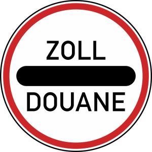 Verkehrszeichen 392 StVO, Zollstelle (Durchmesser/Folie/Form: 600mm/RA1/Flachform 2mm (Art.Nr.: 392-111))