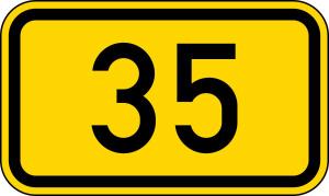 Verkehrszeichen 401 StVO, Bundesstraßen (Maße/Folie/Form:  <b>250x420mm</b>/RA1/Flachform 2mm (Art.Nr.: 401-111))