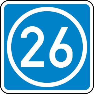 Verkehrszeichen 406-50 StVO, Knotenpunkt der Autobahnen, ein- oder zweistellige Nummer (Maße/Folie/Form:  <b>650x650mm</b>/RA1/Flachform 2mm (Art.Nr.: 406-50-111))