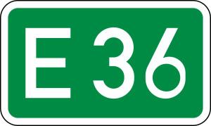 Verkehrszeichen 410 StVO, Europastraßen (Maße/Folie/Form:  <b>250x420mm</b>/RA1/Flachform 2mm (Art.Nr.: 410-111))
