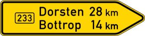 Verkehrszeichen 415-20 StVO, Pfeilwegweiser auf Bundesstraßen, rechtsweisend, Höhe 450 mm, einseitig, Schrifthöhe 105 mm, zweizeilig (Länge/Folie/Form:  <b>1500mm</b>/RA1/Flachform 2mm (Art.Nr.: 415-20-4-311))
