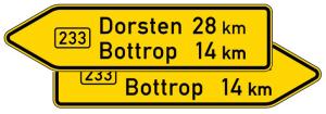 Verkehrszeichen 415-40 StVO, Pfeilwegweiser auf Bundesstraßen, doppelseitig, Höhe 450 mm, Schrifthöhe 105 mm, zweizeilig (Länge/Folie/Form:  <b>1500mm</b>/RA1/Flachform 2mm (Art.Nr.: 415-40-4-311))