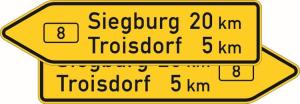 Verkehrszeichen 415-40 StVO, Pfeilwegweiser auf Bundesstraßen, doppelseitig, Höhe 550 mm, Schrifthöhe 175 mm, einzeilig (Länge/Folie/Form:  <b>1750mm</b>/RA1/Flachform 3mm (Art.Nr.: 415-40-6-413))