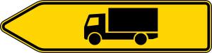 Verkehrszeichen 421-10 StVO, Pfeilwegweiser für KFZ mit einer zulässigen Ges..., linksweisend (Folie/Form: RA1/Flachform 2mm (Art.Nr.: 421-10-111))