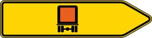 Verkehrszeichen 421-21 StVO, Pfeilwegweiser für kennzeichnungspfl. Fahrzeuge m. gef. Gütern, rechtsweisend, einseitig (Folie/Form: RA1/Flachform 2mm (Art.Nr.: 421-21-111))
