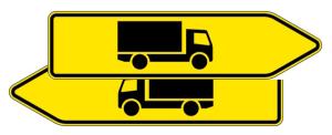 Verkehrszeichen 421-40 StVO, Pfeilwegweiser für KFZ mit einer zulässigen Ges..., doppelseitig (Folie/Form: RA1/Flachform 2mm (Art.Nr.: 421-40-111))