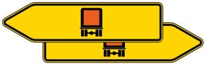 Verkehrszeichen 421-41 StVO, Pfeilwegweiser für kennzeichnungspfl. Fahrzeuge m. gef. Gütern, doppelseitig (Folie/Form: RA1/Flachform 2mm (Art.Nr.: 421-41-111))